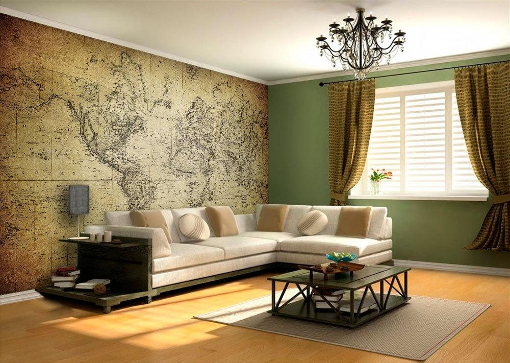 World Map Vintage Wall Art – Moonwallstickers For Map Wall Art (Image 20 of 20)