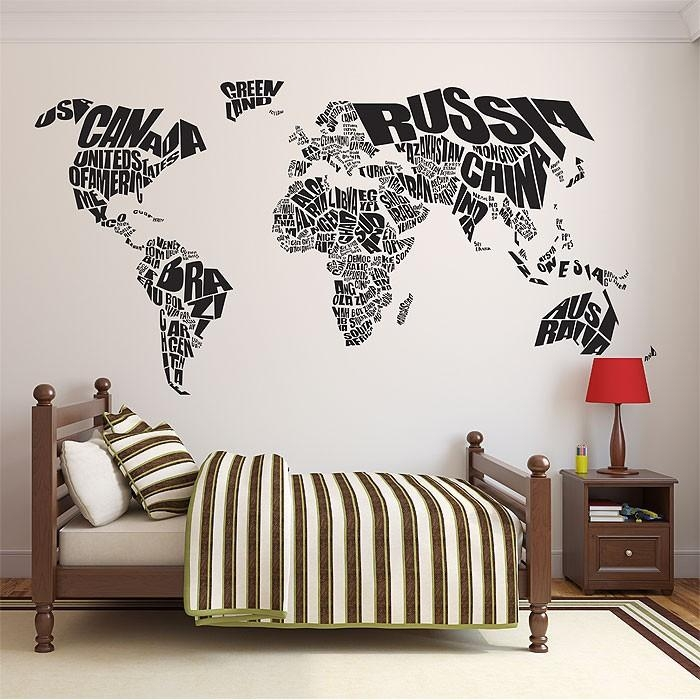 World Map Vinyl Wall Art Decal Intended For Tattoo Wall Art (View 15 of 20)