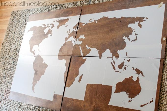World Map Wall Art Diy – Tried & True Intended For Maps For Wall Art (Image 19 of 20)