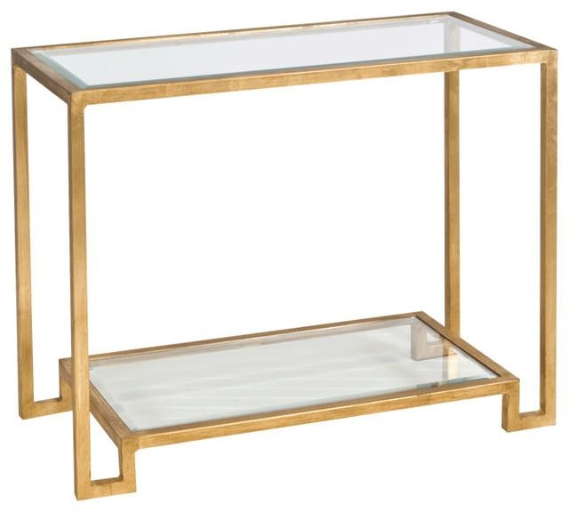 Worlds Away Console Table With Beveled Glass Shelves Lyle Pertaining To Gold Sofa Tables (View 8 of 20)
