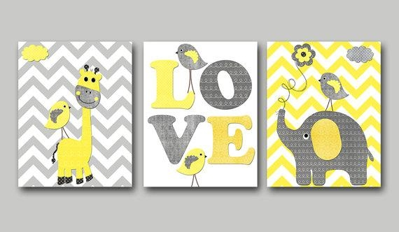 Yellow And Gray Baby Boy Nursery Art Print Children Wall Art For Baby Wall Art (Image 20 of 20)