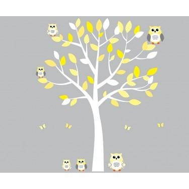 Yellow And Grey Owl Wall Art With White Tree Wall Decal For Girls With Regard To Yellow Grey Wall Art (Image 18 of 20)