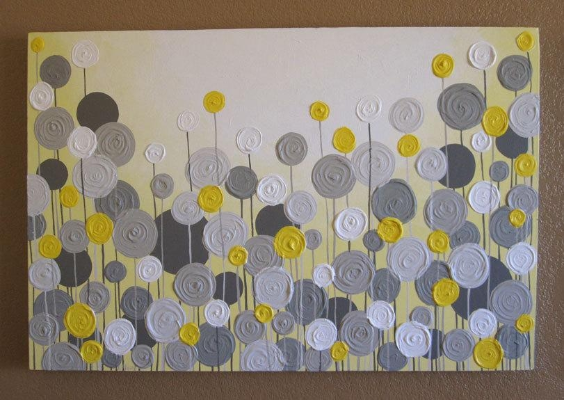 Yellow And Grey Wall Art Textured Painting Abstract Flowers Throughout Yellow Grey Wall Art (Image 20 of 20)