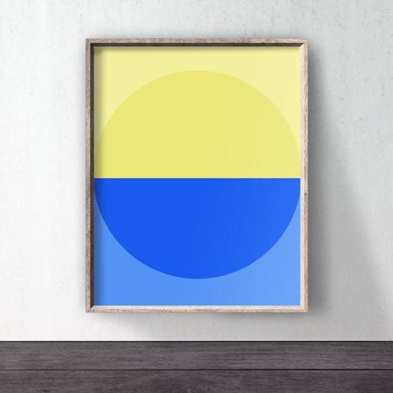 Yellow Blue Abstract Print Colour Poster Blue Wall Art In Yellow And Blue Wall Art (Image 18 of 20)