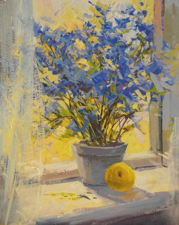Yellow Blue Flowers Painting Print Floral Canvas Art Yellow Intended For Yellow And Blue Wall Art (Image 19 of 20)