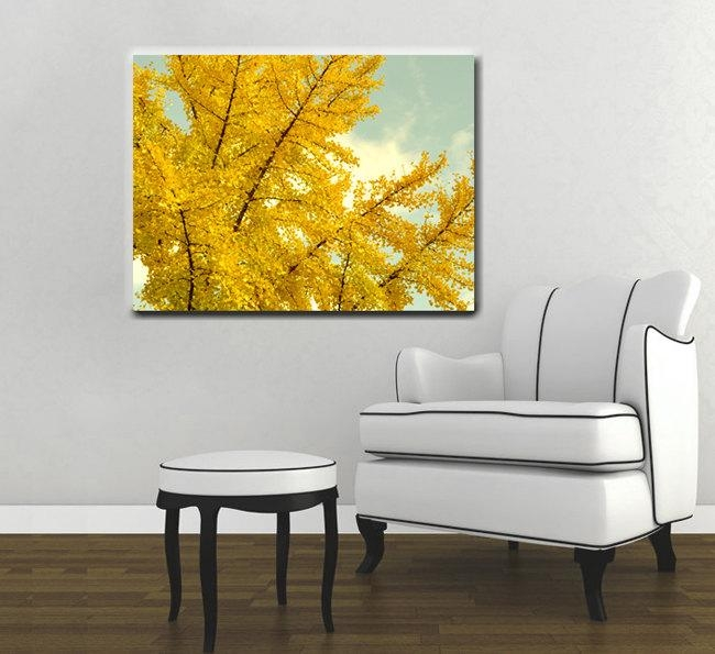 Yellow Tree Canvas Art | Large Yellow Wall Art | Oversized Canvas Art Inside Large Yellow Wall Art (Photo 14 of 20)