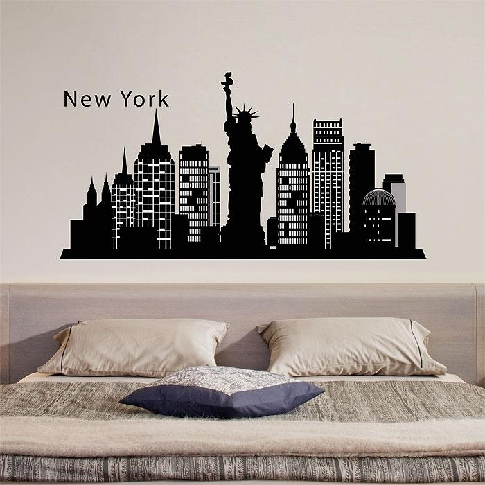 York Skyline City Silhouette Vinyl Wall Art Decal For New York City Wall Art (Photo 16 of 20)