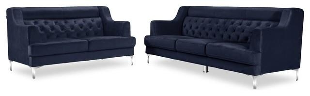 Zara Fabric Tufted Sofa And Loveseat With Chrome Legs, Navy Blue Pertaining To Sofas With Chrome Legs (Image 20 of 20)
