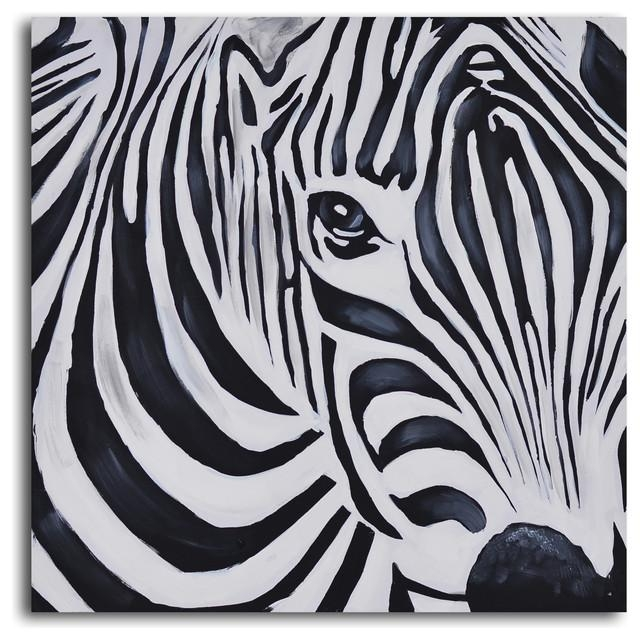 Zebra Perspective Hand Painted Canvas Art – Prints And Posters Inside Zebra Wall Art Canvas (View 7 of 20)