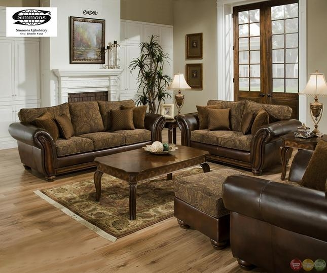 Zephyr Chenille And Leather Living Room Sofa & Loveseat Set Intended For Simmons Sofas And Loveseats (Photo 14 of 20)