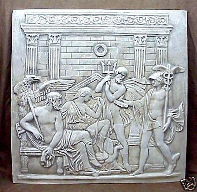 Zeus,neptune And Mercury 4 Tiles Greek Wall Sculpture Art Decor Pertaining To Greek Wall Art (Image 20 of 20)