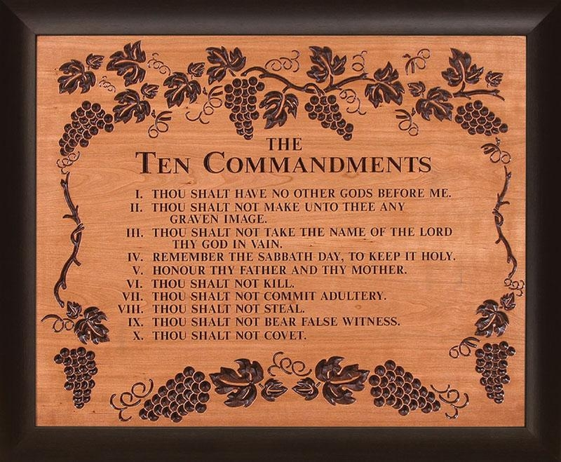 Commandments Cherry Wood Framed Carving Lordsart With Regard To Ten Commandments Wall Art