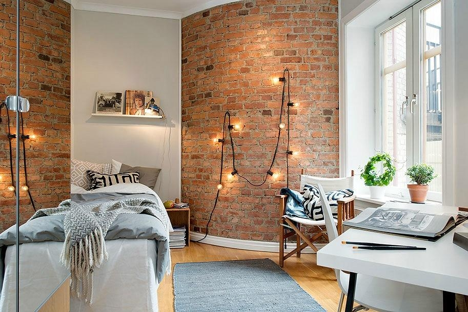 10 Ways To Decorate An Exposed Brick Wall Without Drilling | 6Sqft Inside Hanging Wall Art For Brick Wall (View 8 of 20)