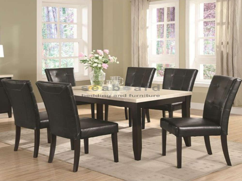 102771 Anisa White Faux Marble Dining Table Set In Most Popular Marble Dining Chairs (Image 1 of 20)