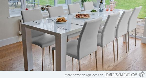 15 Perfectly Crafted Large Dining Room Table Designs | Home Design In Most Up To Date White Gloss Dining Room Furniture (View 10 of 20)