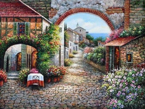 155 Best Art Tuscany Images On Pinterest | Landscapes, Frames And For Italian Village Wall Art (Image 1 of 20)