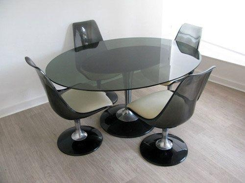 1970S Chromcraft Smoke Glass Dining Table And Chairs | Photography Throughout Most Popular Smoked Glass Dining Tables And Chairs (Image 2 of 20)