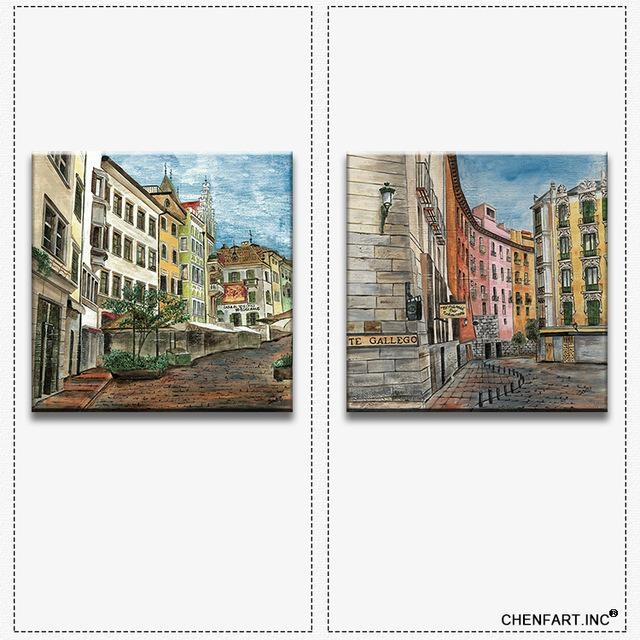 2 Pictures Combination Wall Art Painting Canvas For Living Room Throughout Italian Village Wall Art (Image 3 of 20)