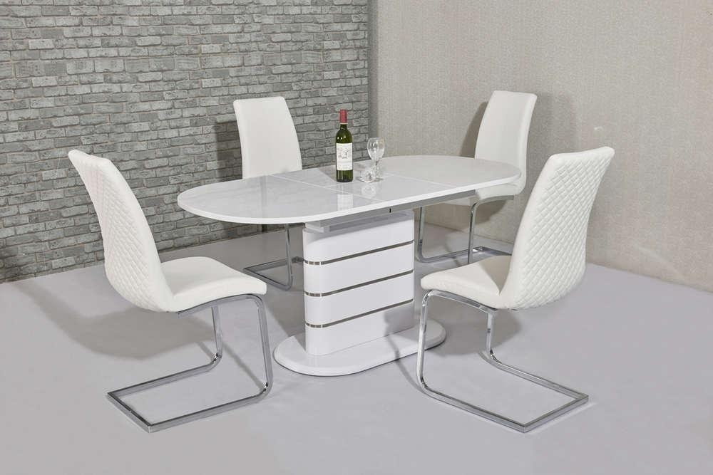 200Cm Oval White Gloss Dining Table & 8 White Chairs – Homegenies With Regard To Most Current Oval White High Gloss Dining Tables (Image 1 of 20)