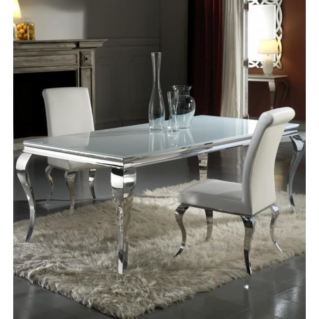 200Cm White And Chrome Dining Table Only For Most Current Chrome Dining Room Chairs (Image 1 of 20)