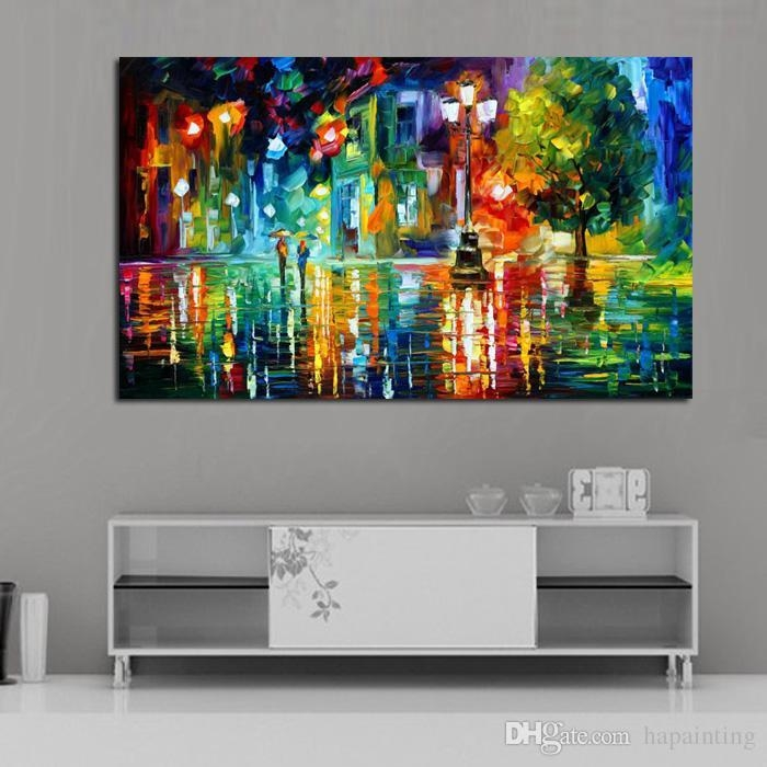 2017 Abstract Colourful City Scenery Knife Oil Painting On Canvas For Colorful Abstract Wall Art (Image 1 of 20)