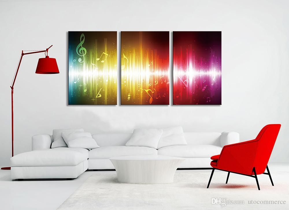 2017 Beating Music Notes Canvas Wall Art Paintings Colorful Throughout Colorful Abstract Wall Art (Image 2 of 20)
