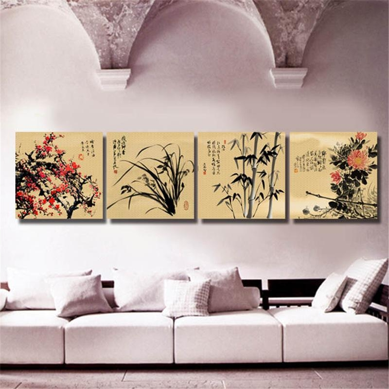 2017 Chinese Art Paintings Four Kinds Flower Wall Art Prints For In Flower Wall Art Canvas (Image 2 of 20)