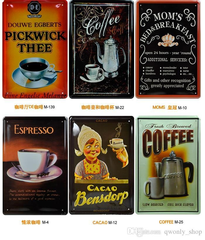 2017 Classic Italian Coffee Tin Sign Old Wall Art Decor Painting Regarding Italian Cafe Wall Art (Image 2 of 20)
