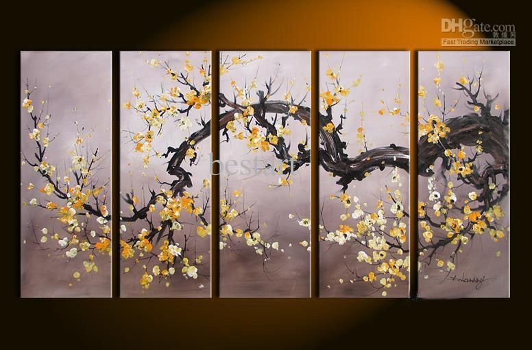 2017 Hand Painted Oil Wall Art Golden Yellow Flower Decoration Regarding Flower Wall Art Canvas (Image 3 of 20)