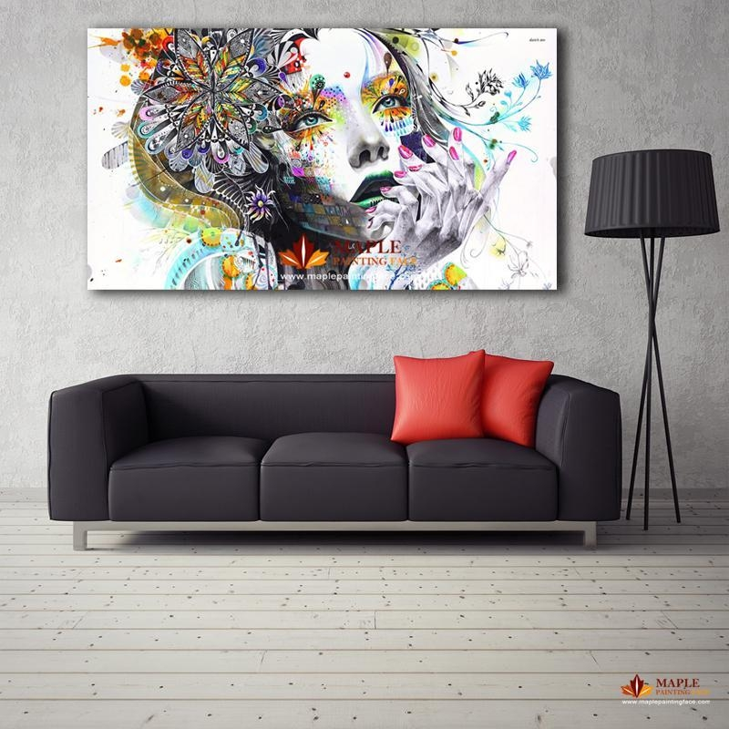 2017 Large Canvas Painting Modern Wall Art Girl With Flowers Oil For Large Modern Wall Art (Image 1 of 20)