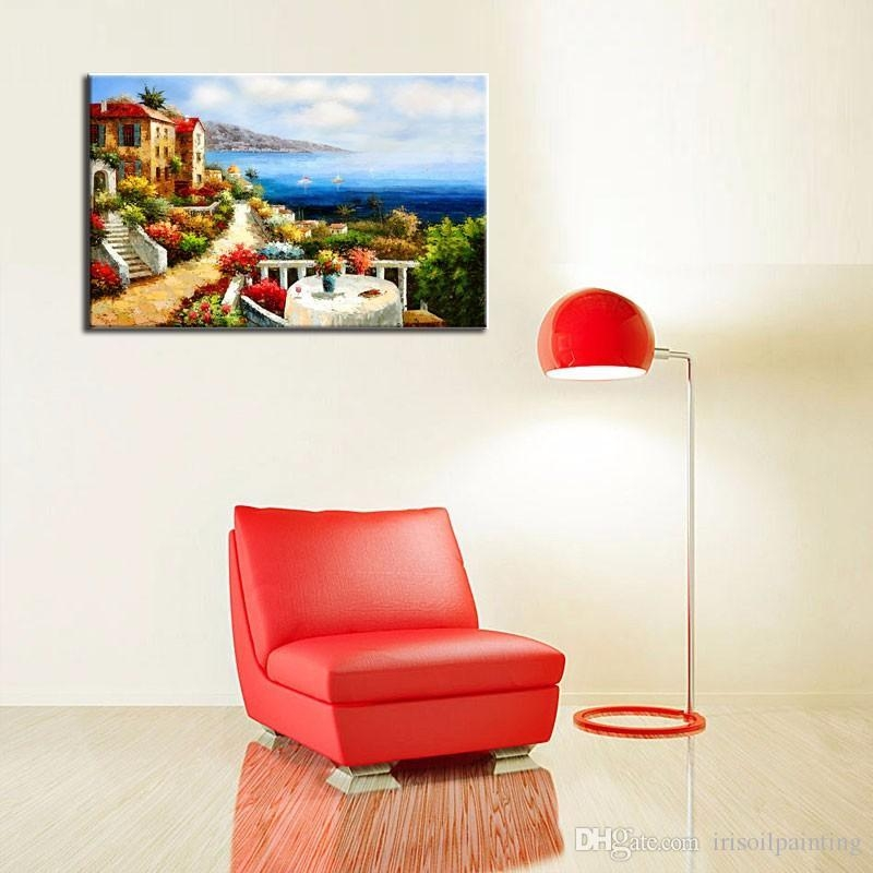 2017 Lk119 Attracted Italy Mediterranean Italian Villas Beach In Italian Villa Wall Art (Image 4 of 20)