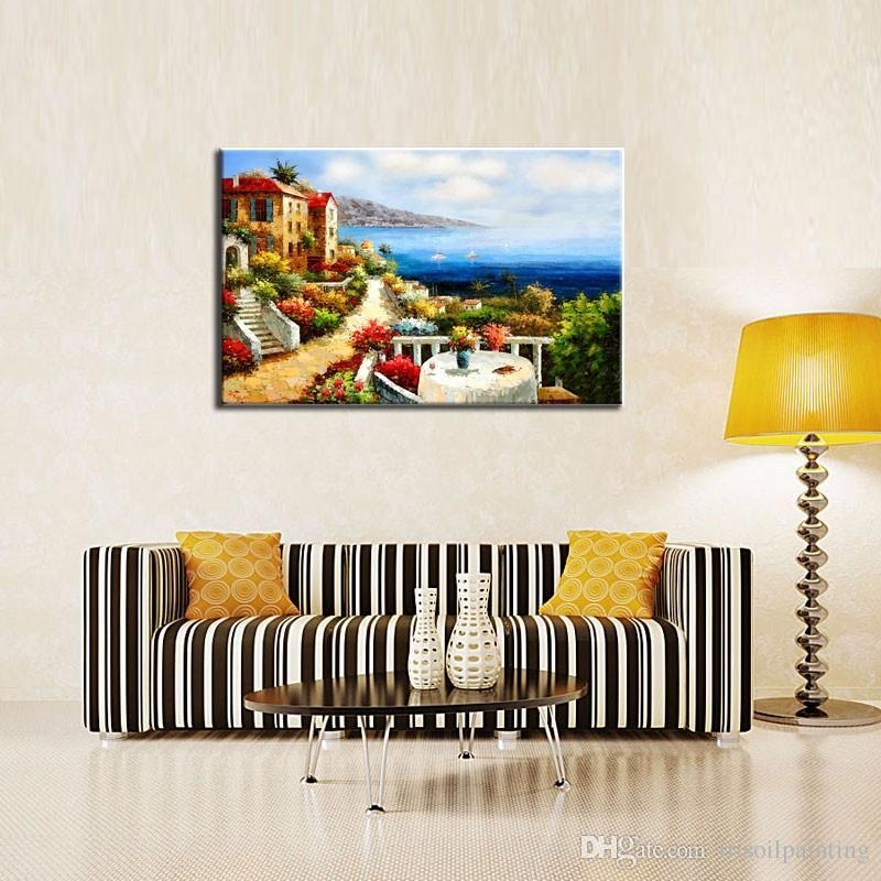 2017 Lk123 Mediterranean Italian Villas Seascape Wall Art Modern With Italian Villa Wall Art (Image 5 of 20)