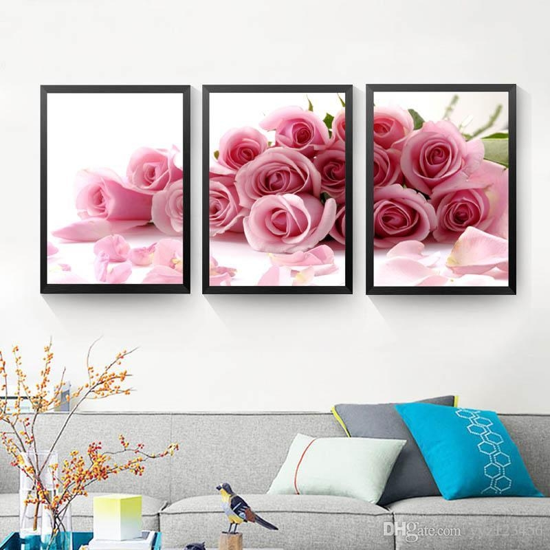 2017 Pink Rose Wall Art Canvas Painting Posters And Print Flowers Pertaining To Flower Wall Art Canvas (Image 4 of 20)