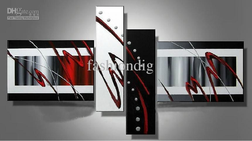 2017 Stretched Contemporary Abstract Oil Painting Canvas Black Throughout Red And Black Canvas Wall Art (View 14 of 20)