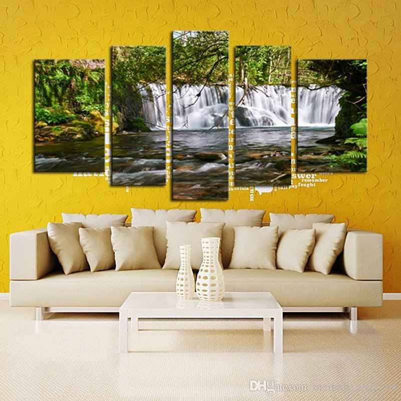 2017 Unframed 5 Panel The Moving Waterfall Large Hd Home Regarding Moving Waterfall Wall Art (Image 1 of 20)
