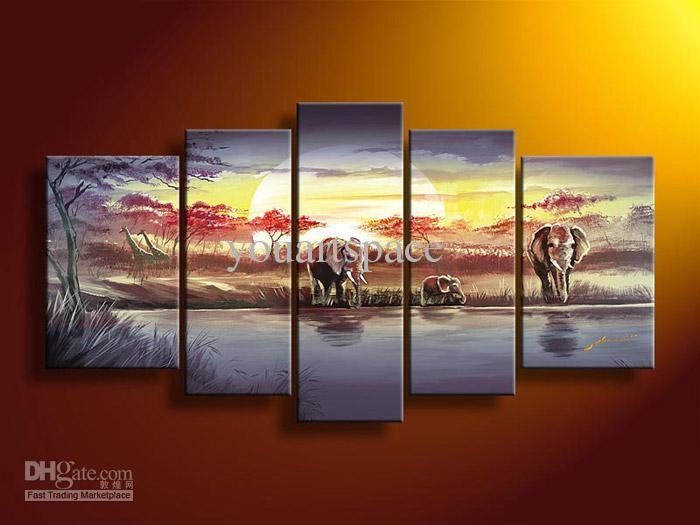 2017 Wall Art African Abstract Blue Elephant Oil Painting On With Five Piece Wall Art (Photo 12 of 20)