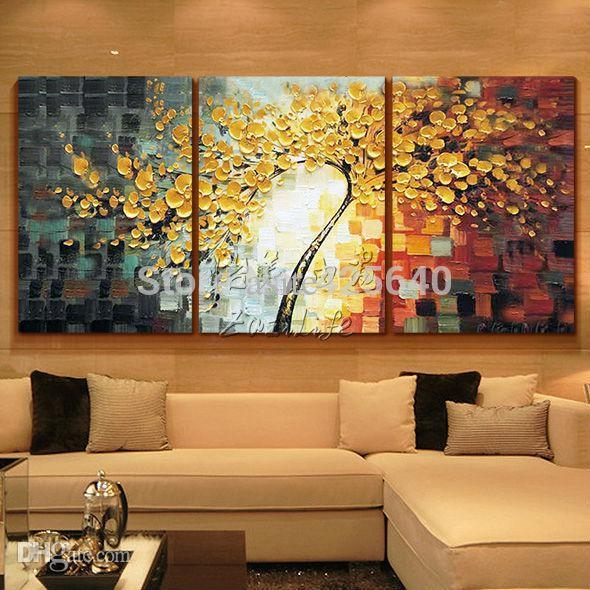 2017 Wholesale Oil Painting 3 Panel Canvas Wall Art Picture Modern Pertaining To Three Piece Canvas Wall Art (Image 2 of 20)
