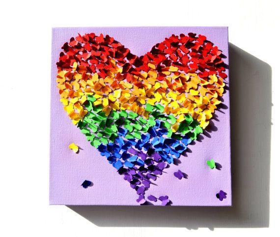 21 Best Rainbow Ideas Images On Pinterest | Rainbow, Paper And Regarding Rainbow Butterfly Wall Art (Image 2 of 20)