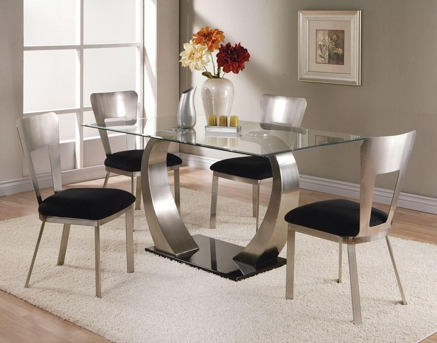 22 Inspired Ideas For Glass Dining Room Table Set | Home Devotee Within Current Chrome Dining Tables And Chairs (Image 1 of 20)