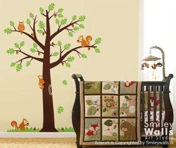 25 Best Woodland Nursery Images On Pinterest | Babies Nursery With Oak Tree Vinyl Wall Art (Image 3 of 20)