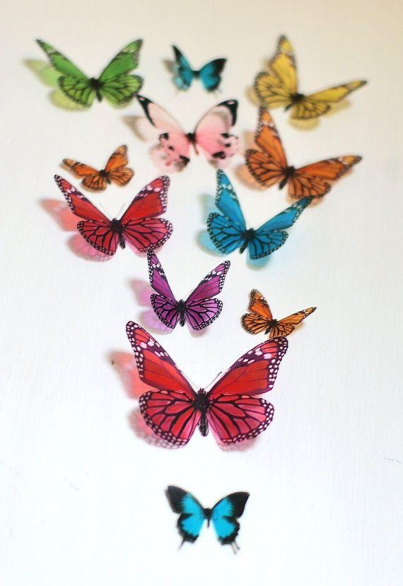 255 Best Papillons Images On Pinterest | Butterflies, Dragonflies Regarding Rainbow Butterfly Wall Art (Image 3 of 20)
