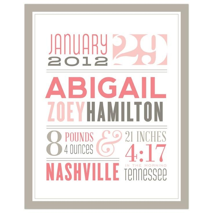 27 Best Birth Frame Images On Pinterest | Births, Baby Baby And Intended For Personalized Baby Wall Art (Image 3 of 20)