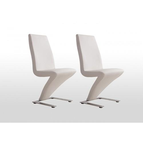 2X Contemporary Z Dining Chairs In White Pu Leather | Buy Sets Of 2 Regarding Best And Newest Perth White Dining Chairs (Image 2 of 20)