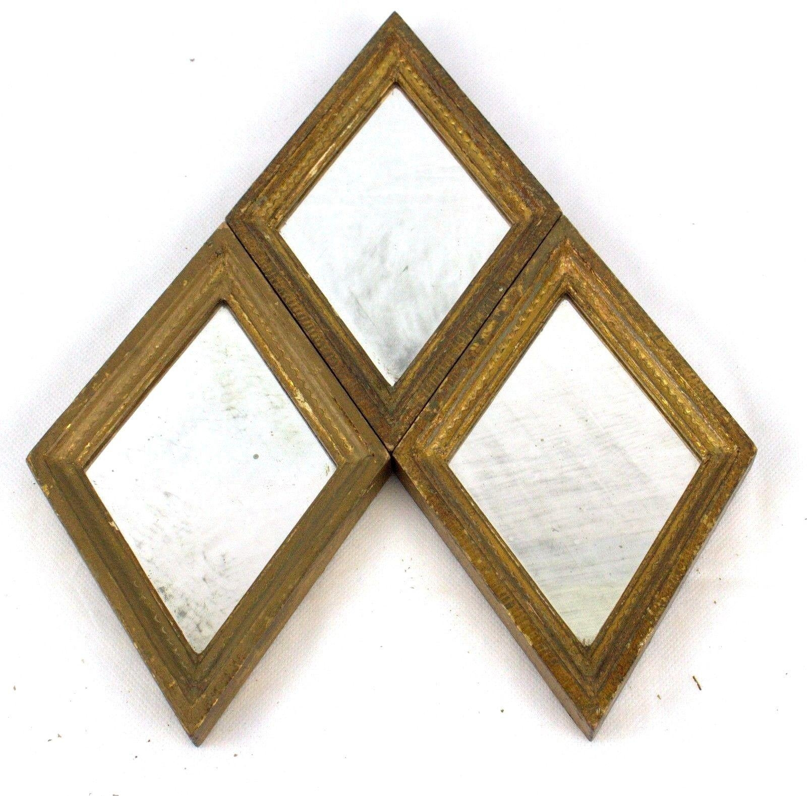 3 Diamond Shaped Mirrorsg Vanghi Small Vintage Gold Framed Pertaining To Small Diamond Shaped Mirrors (Image 1 of 20)