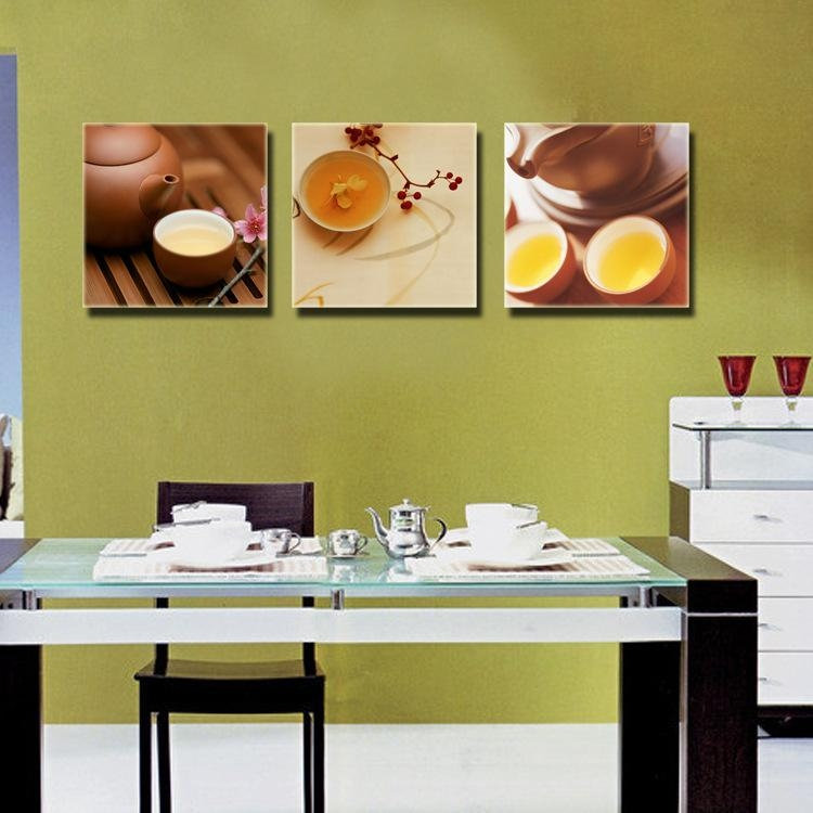 3 Piece Canvas Wall Art Kitchen Dinning Room Wall Decor Oil For Wall Art For The Kitchen (Image 4 of 20)
