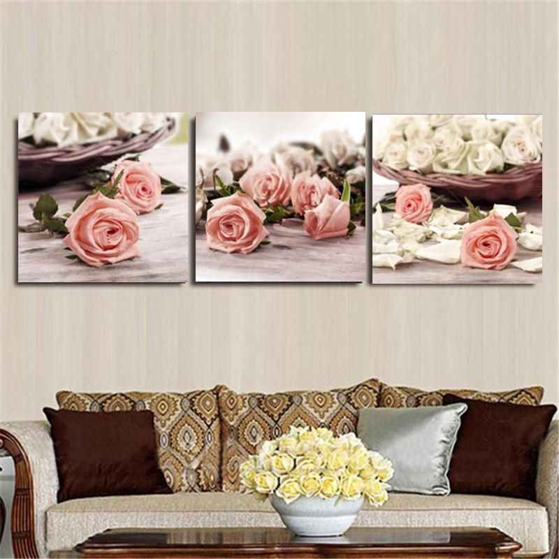 3 Piece Canvas Wall Art Wall Pictures Modern Wall Painting Rose For Rose Canvas Wall Art (Image 3 of 20)