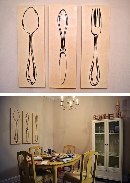 3 Piece Monochromatic Spoon Also Fork Wall Art For Dining Room And Regarding Large Spoon And Fork Wall Art (View 17 of 20)