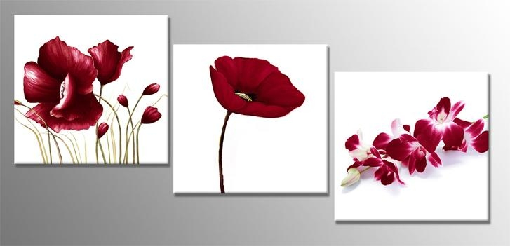 3 Piece Red Florals 160 X 52 Cm 60 X 20 Inch Wall Art Print Regarding 3 Piece Floral Wall Art (Photo 6 of 20)