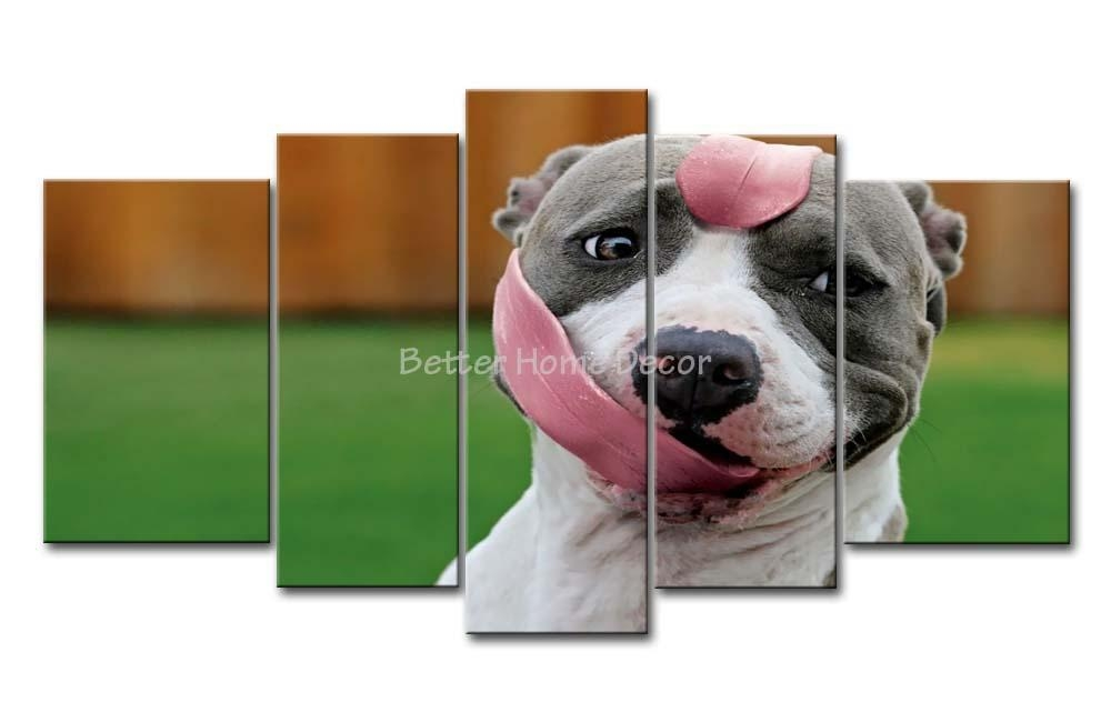 3 Piece Wall Art Painting Pitbull With Long Tongue In The Grass Intended For Pitbull Wall Art (Image 1 of 20)