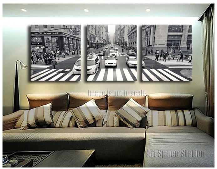 3 Pieces New York City Street View Canvas Print Wall Art Black And Within Black And White New York Canvas Wall Art (Image 1 of 20)